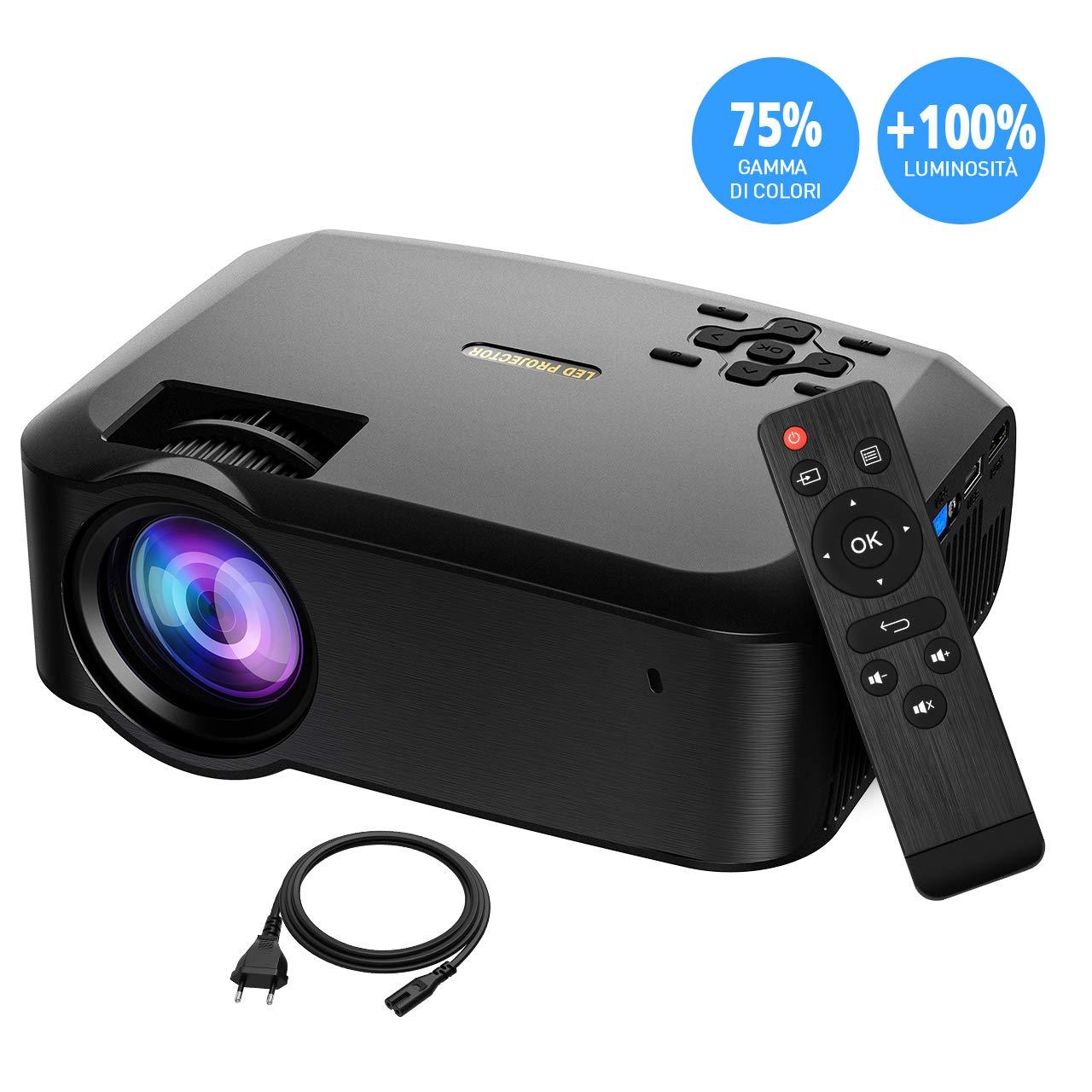 Proiettore LED Portatile Full HD 1080P 3200 Luminosità Superiore, Supporto per Correzione Trapezoidale Verticale 1280P e ± 45°, Inclusione del Supporto Triangolare e Porte MicroSD USB VGA AV HDMI Aitop