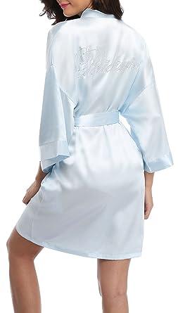 VEW Store Bridal Robes Set Wedding Short Satin Kimono Robes Bride Bridesmaid  Sleepwear Nightgown 3ce20b2ac