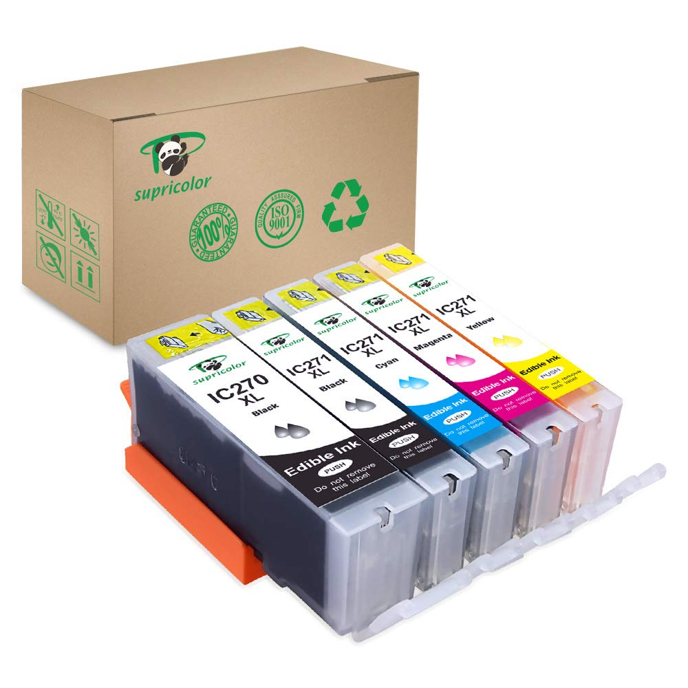 Supricolor 5 Pack Replacement Edible Ink PGI-270XL PGI 270 CLI-271XL CLI 271 for Canon MG6820 MG6821 MG682 MG5720 MG5722 by Supricolor (Image #1)
