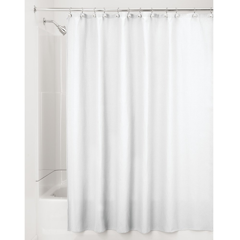 "InterDesign York Waffle Weave Shower Curtain – Mold & Mildew Resistant Hotel Weight Bathroom Curtain, White, 72"" x 96"", Extra Long"