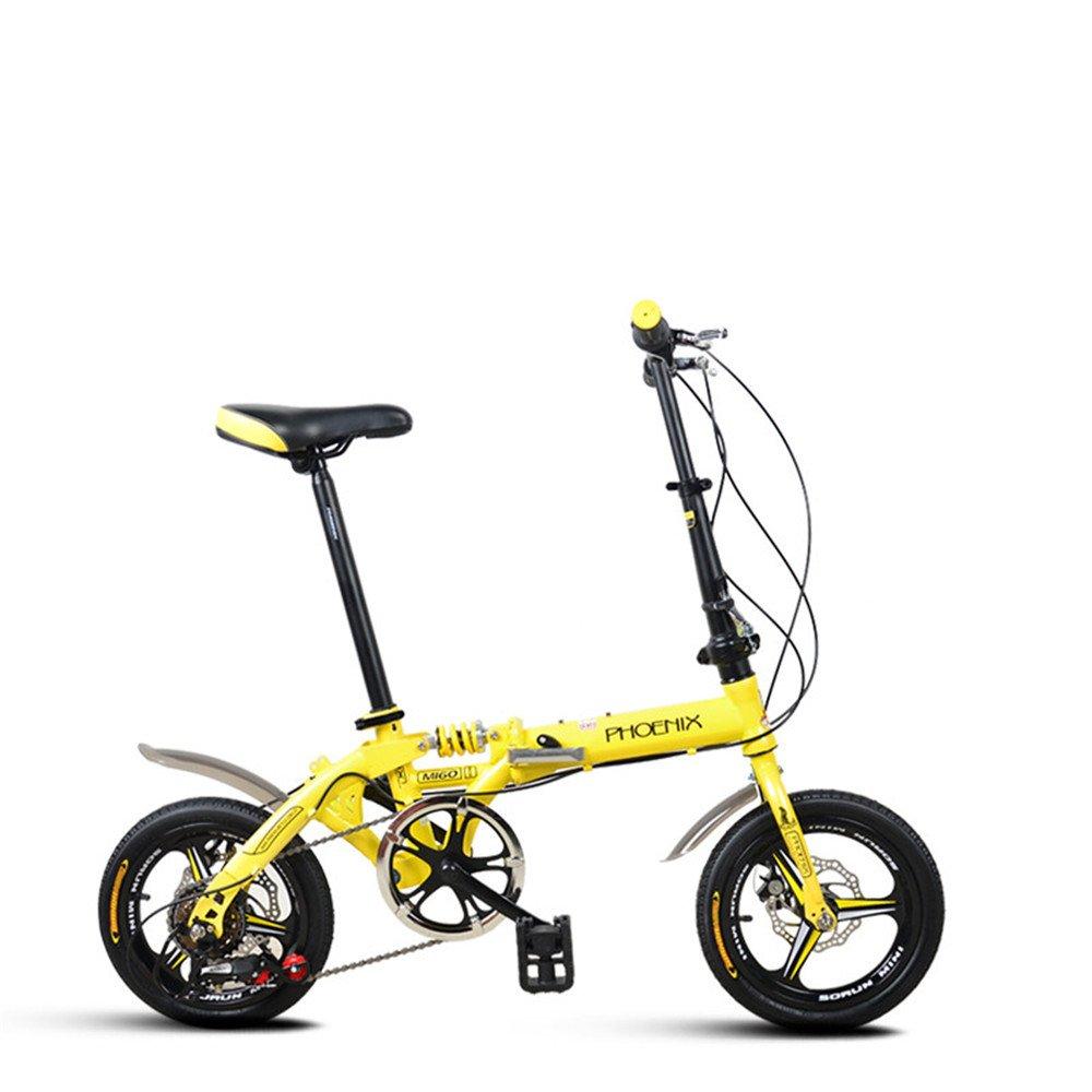 折りたたみ自転車 折り畳み 14インチ 単速 6段変速 通学 アウトドア 通勤や街乗りに最適 小径自転車 YA811 B078M9PVXW 14インチ|イエロー(変速) イエロー(変速) 14インチ