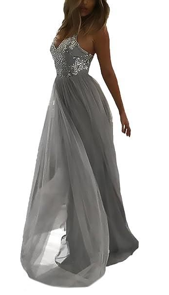 Mujer Vestidos De Bola Largos Fiesta Elegante Vestido Verano Modernas Casual Vestido De Noche Sling V Cuello Sin Tirantes Espalda Descubierta Clásico Moda ...