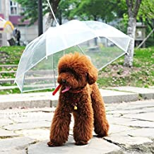 Unfade Memory Transparent Pet Umbrella, Dog Leash Umbrella for Small Dog - Provides Protection from Rain Snow Wet Weather