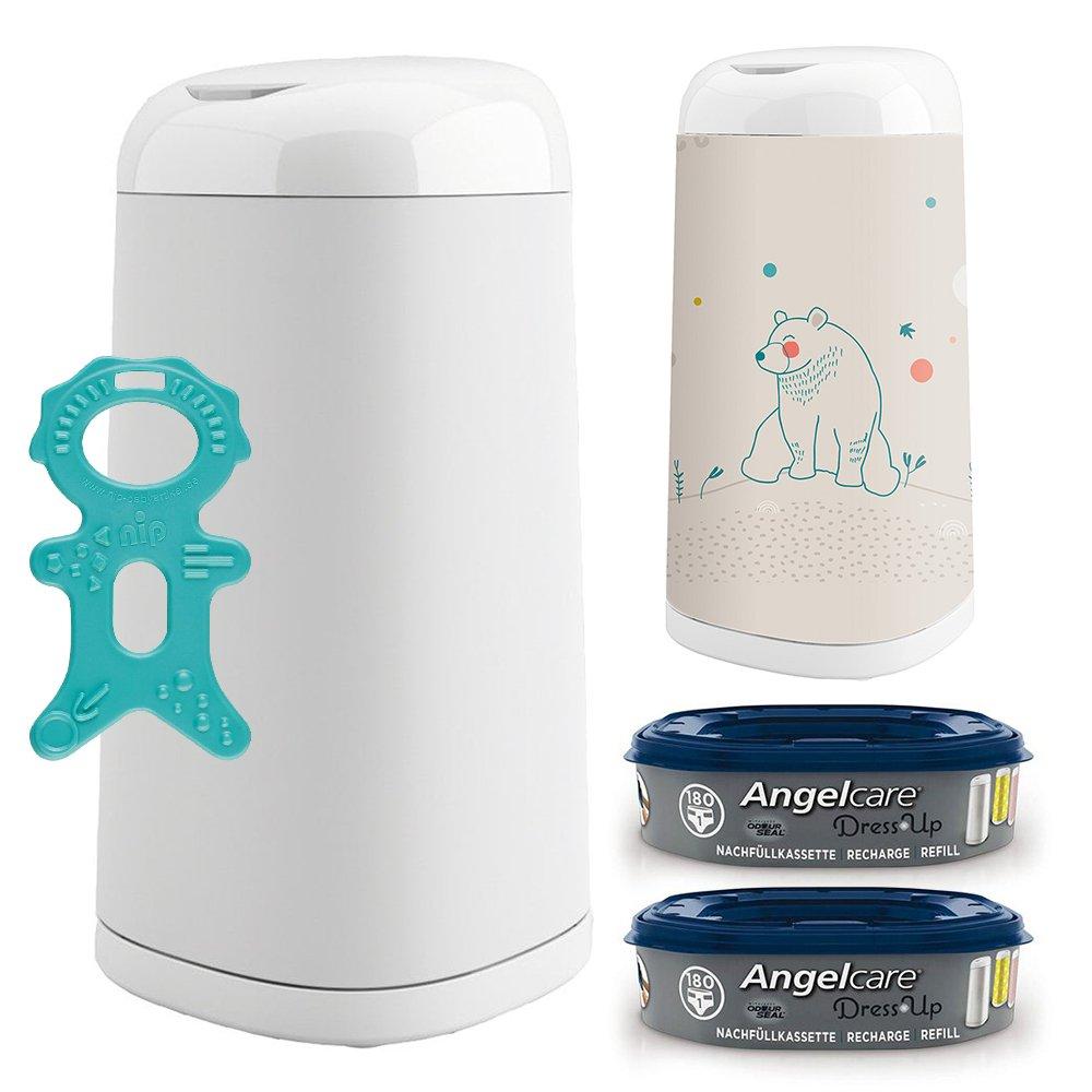 Angelcare® Dress-Up Starter-Set: Windeleimer + 2 Nachfüllkassette + Dress-Up Bezug Summer Bear