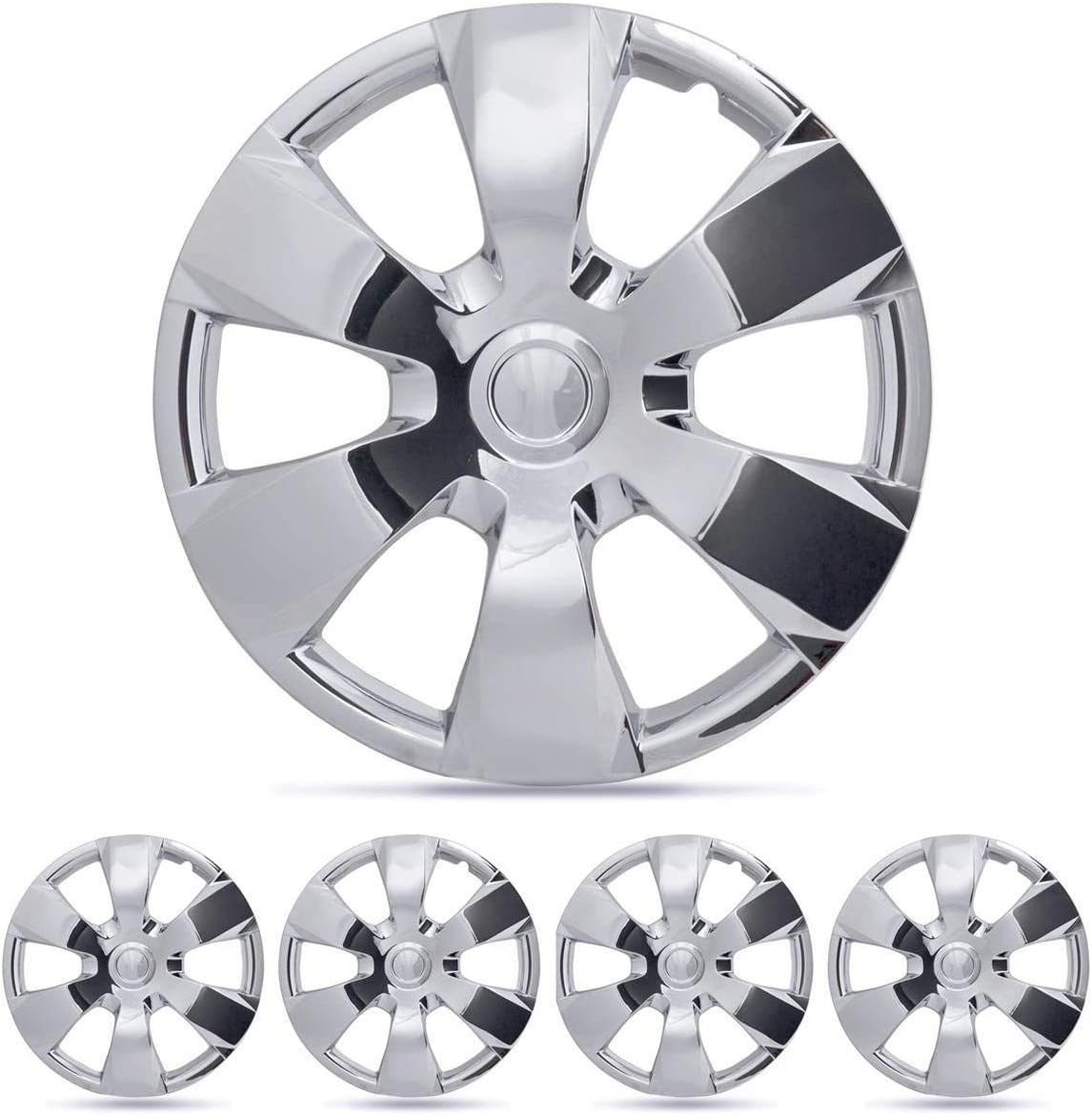 "BDK Wheel Guards – (4 Pack) Hubcaps for Car Accessories Wheel Covers Snap Clip-On Auto Tire Rim Replacement for 16 inch Wheels 16"" Hub Caps (Chrome Toyota Replica)"