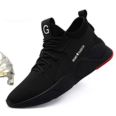 AMY Work Steel Toe Shoes Safety Shoes for Men and Women Safety Work Sneakers Outdoor Lightweight Breathable Non Slip Puncture Proof Fashion Sports Sneakers: Shoes