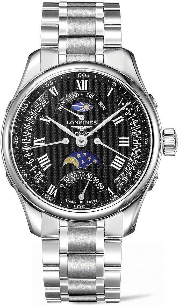 Nueva colección de Longines Maestro Automático Negro Dial Acero inoxidable Hombre Reloj l2.739.4.51.6