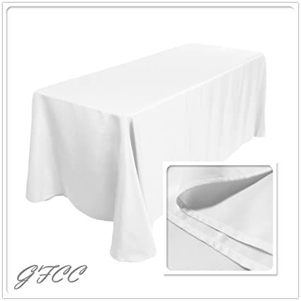 GFCC 90 X 132  Inch Rectangular Polyester 6FT White Tablecloth, 100%  Polyester