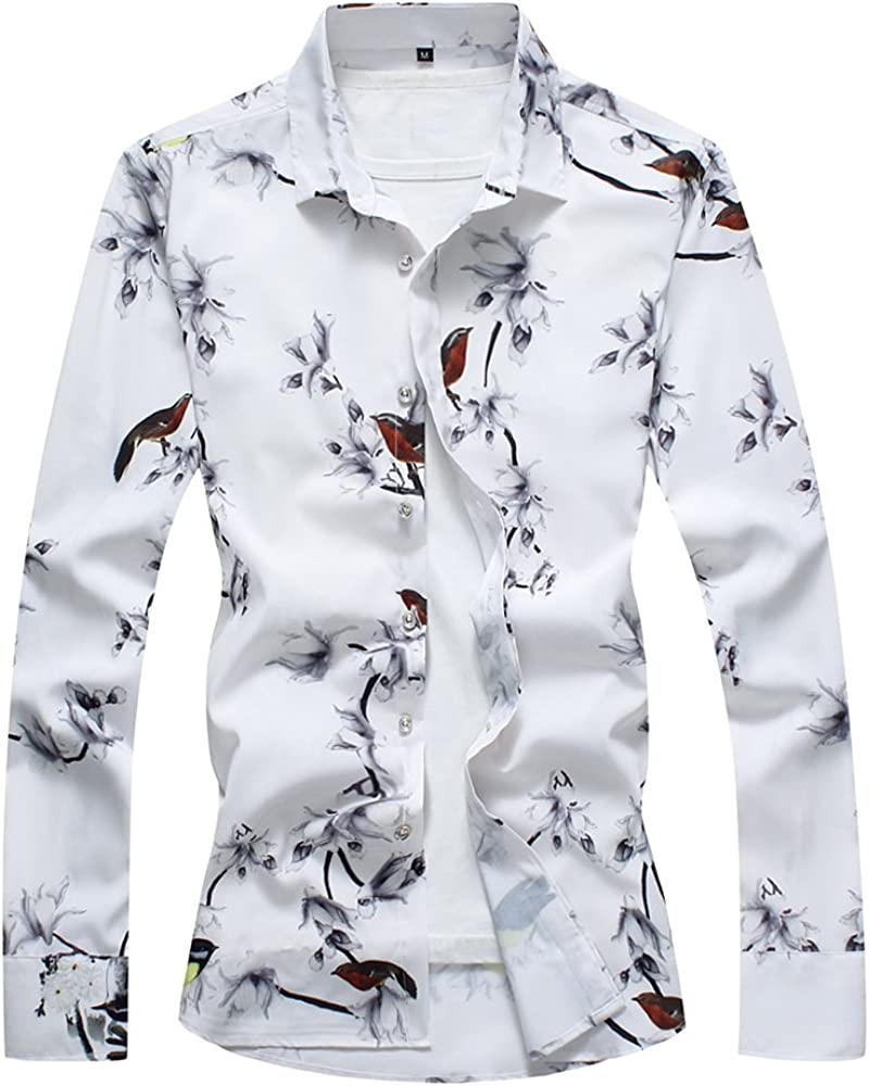 QZUnique Mens Cotton Shirts Long Sleeve Floral Shirts Casual Button Down Shirts Plus Sizes