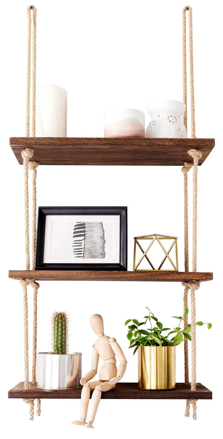 Mkono Wood Hanging Shelf Wall Swing Storage Shelves Jute Rope Organizer Rack, 3 Tier