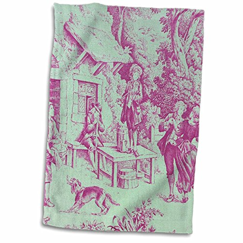 3D Rose French Farm Popular Toile Print Hand Towel, 15