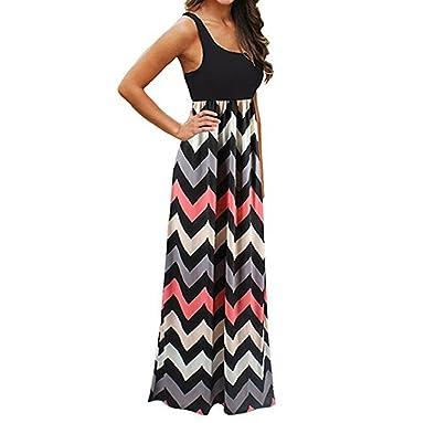 f18f55661a88 Women's Dress TUDUZ Clearance Womens Casual Striped Long Boho Dress Lady  Beach Summer Sundrss Maxi Dress: Amazon.co.uk: Clothing