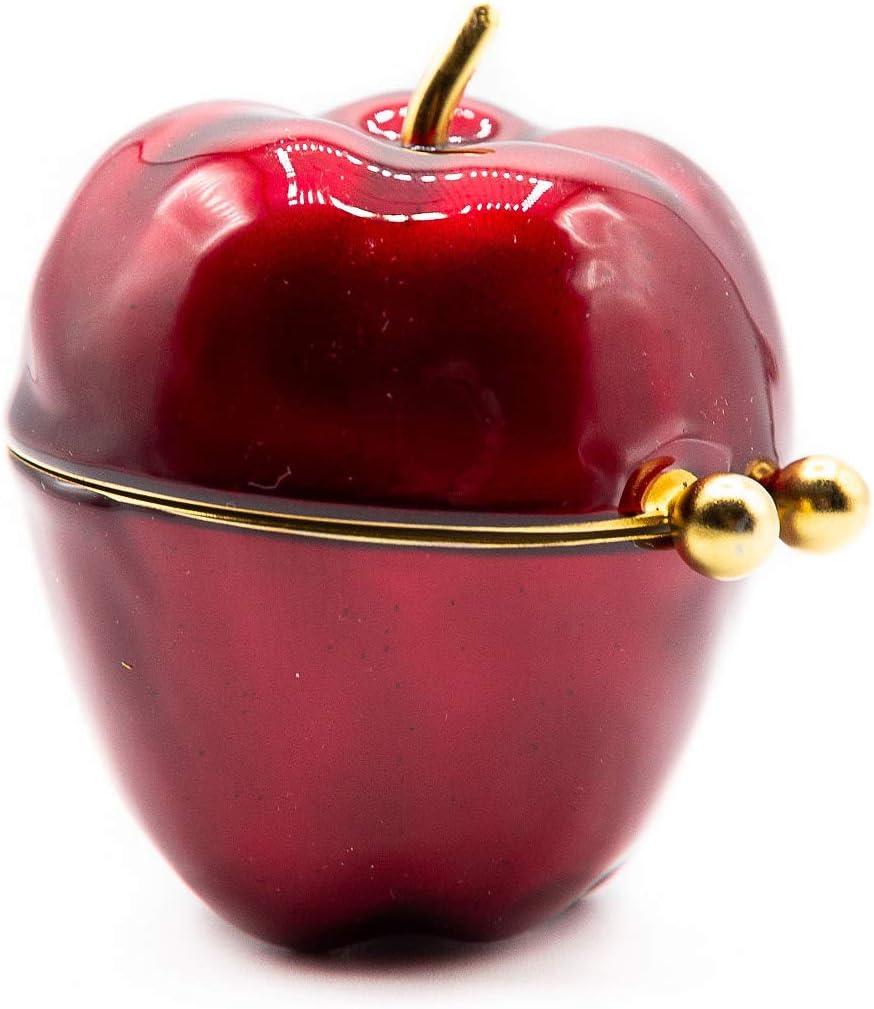 Enamel Red Apple Porcelain Pocket Purse Portable Travel Pill Box & Medicine Organizer (1 Large Compartment)