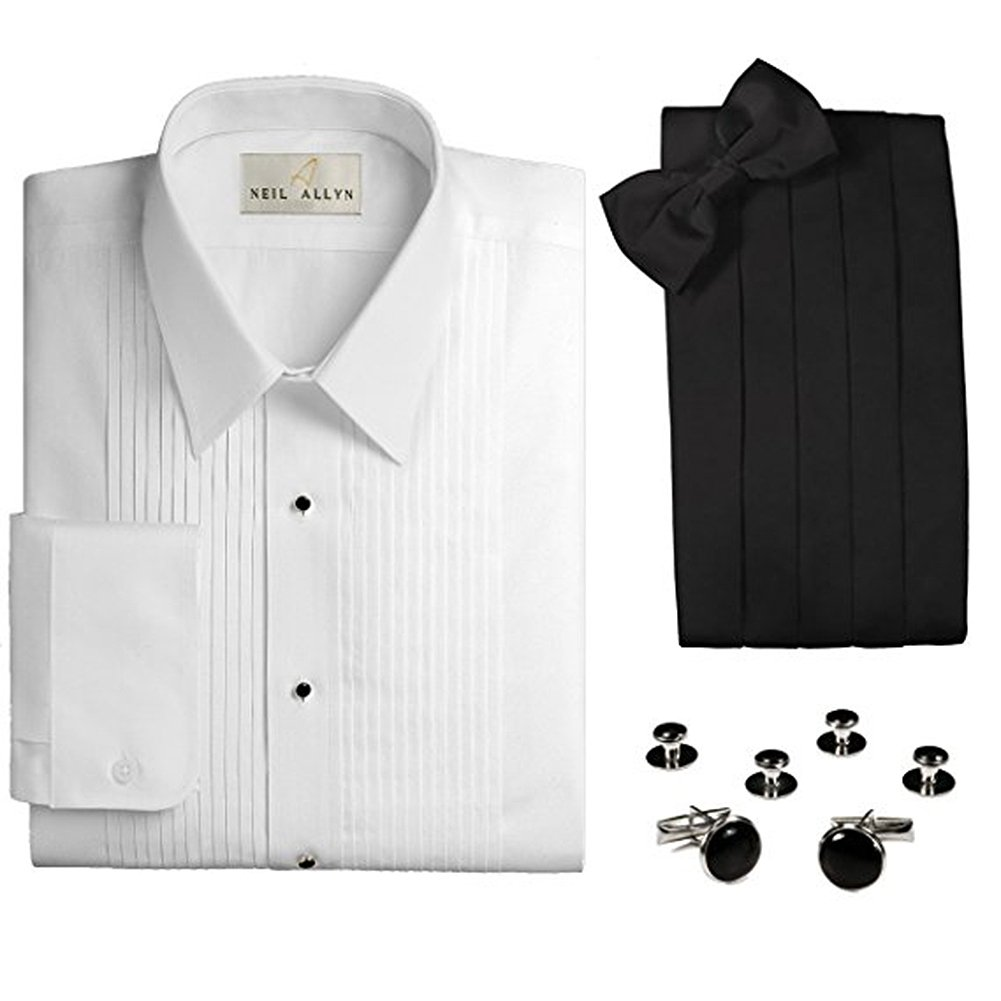 Neil Allyn Men's 1/4 Pleat Tuxedo Shirt & Accessories 4-Piece Set