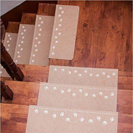 STAIRMC Alfombras para Escaleras Huella Marron Alfombrillas para peldaños Antideslizantes Adhesivas Tapetes de protección de Escaleras,55x22cm 15 pcs: Amazon.es: Hogar