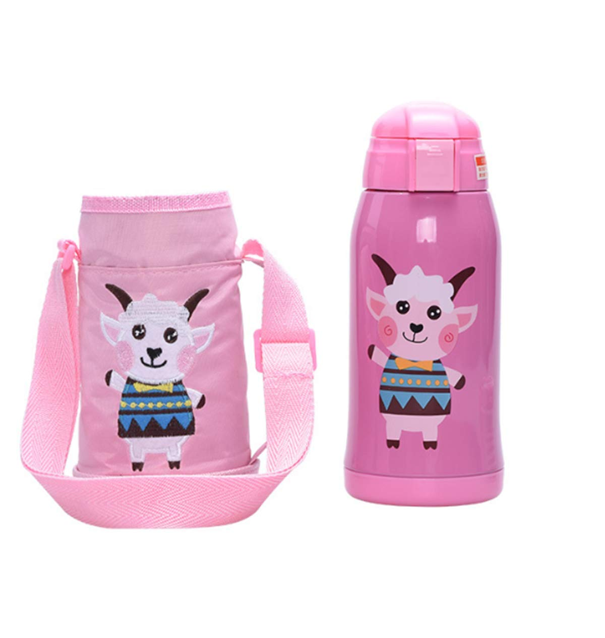 XIUHAO Children's Thermos, Vacuum Stainless Steel Water Bottle with Soft Silicone Straw Cup Bag Long-Term Insulation Seal Does Not Leak for Children by XIUHAO