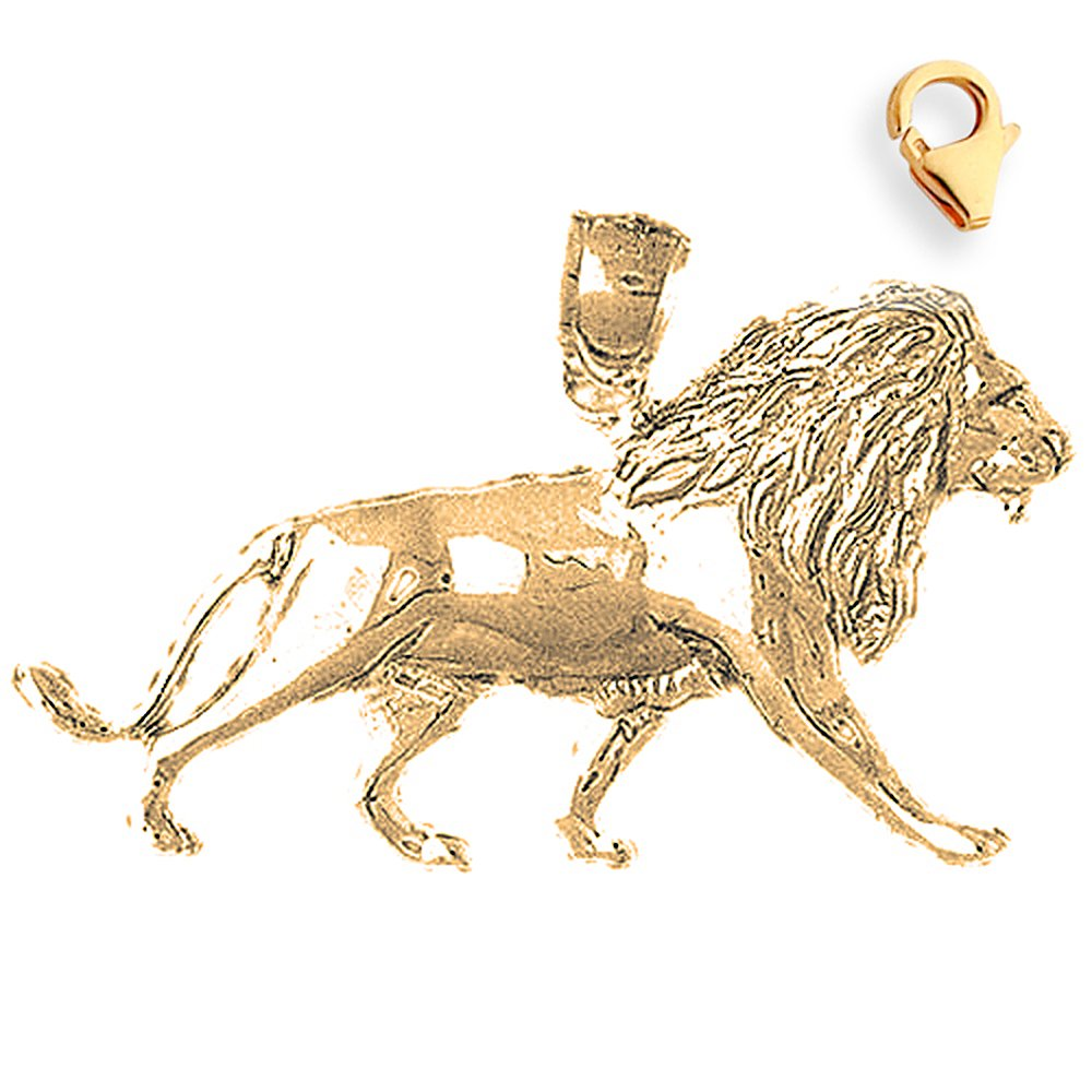 22mm Silver Yellow Plated Lion Charm