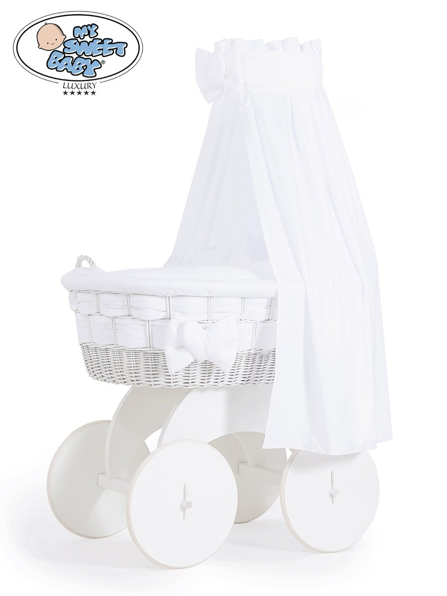 Baby cribs moses baskets - Stunning Handmade Large Wicker Crib With Big Wheels White Drape Moses Basket