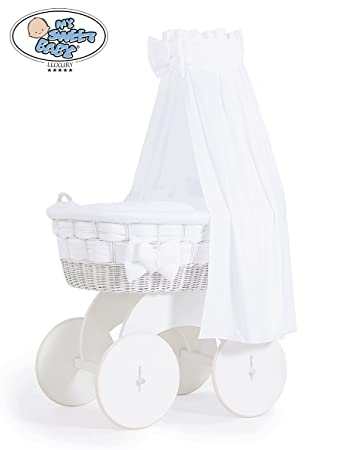 Stunning Handmade Large Wicker Crib With Big Wheels White Drape