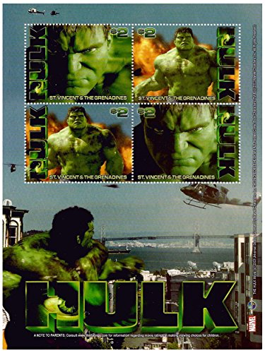 Official licensed Marvel Characters The Incredible Hulk Movie stamp sheet for collectors - St. Vincent / 2003 / 4 stamps