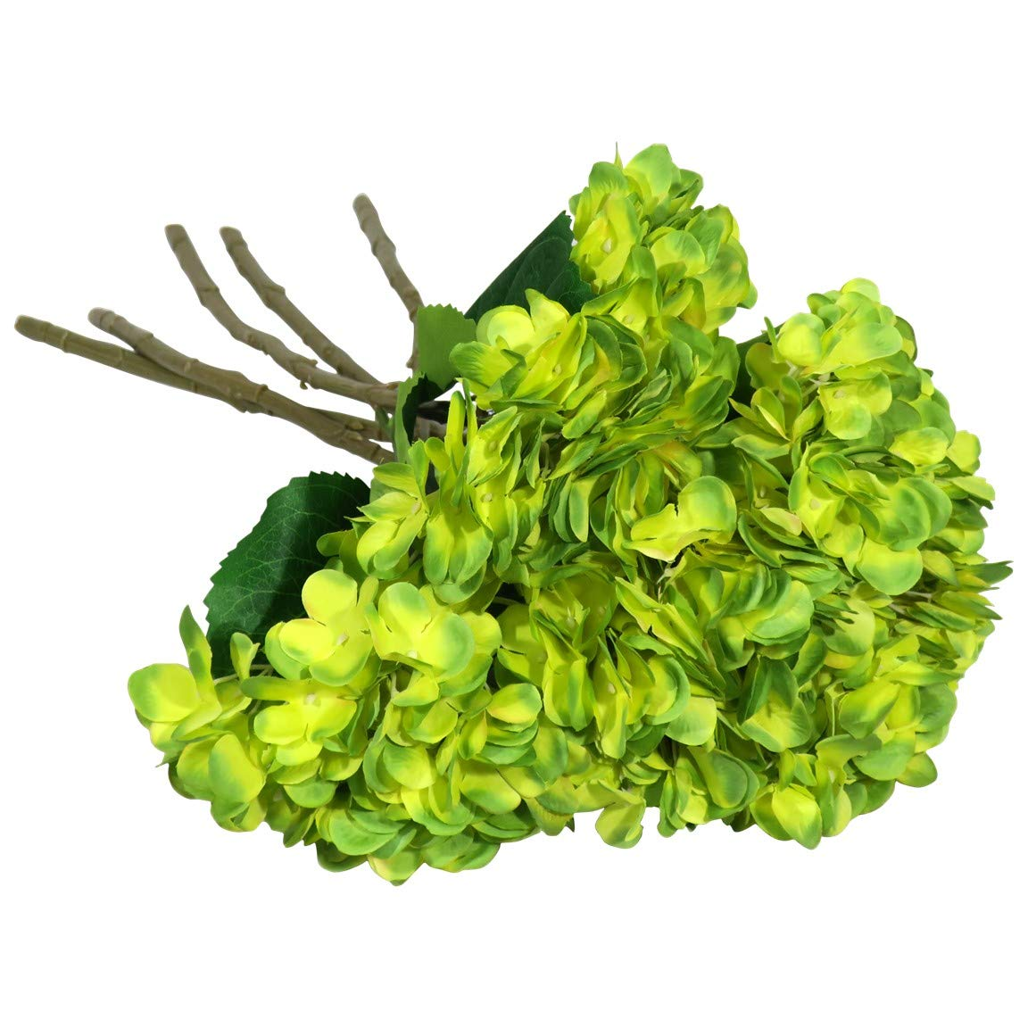 EZFLOWERY 5 Pcs Artificial Silk Hydrangeas Flowers Bouquet Arrangement, for Home Decor, Wedding, Office, Room, Hotel, Event, Party Decoration (Lime Green)