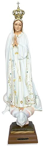 Toccare Hand Painted Our Lady of Fatima Statue – Made in Fatima 17.5 , Glass Eyes