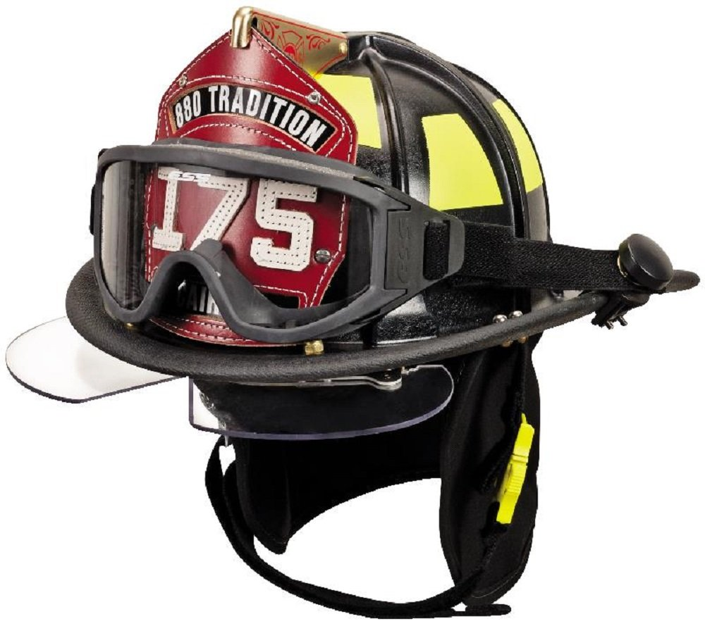 MSA Safety 10047433 CairnsFire Helmet with ESS Goggles, Economy Flannel Liner, Nomex Earlap, Chinstrap, Quick Release, Tetrabar and 5'' Silk Screen Eagle, Black