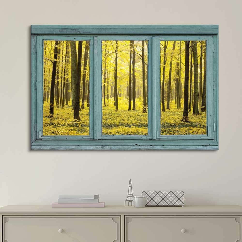 Yellow Forest in Vintage Teal Window Wall Decor - Canvas Art | Wall26