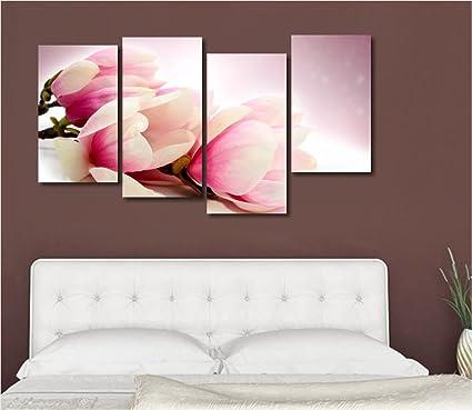 Magnolia - Quadro moderno intelaiato 152x78 cm stampa su tela fiori ...
