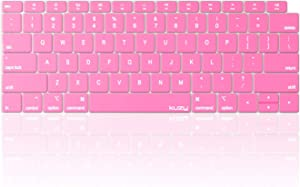 Kuzy MacBook Air Keyboard Cover, 13 inch 2019 2018 A1932 with Retina Display and Touch ID Silicone Key Board Protective Skin Protector, Apple MacBook Air 2019 Keyboard Cover, Pink