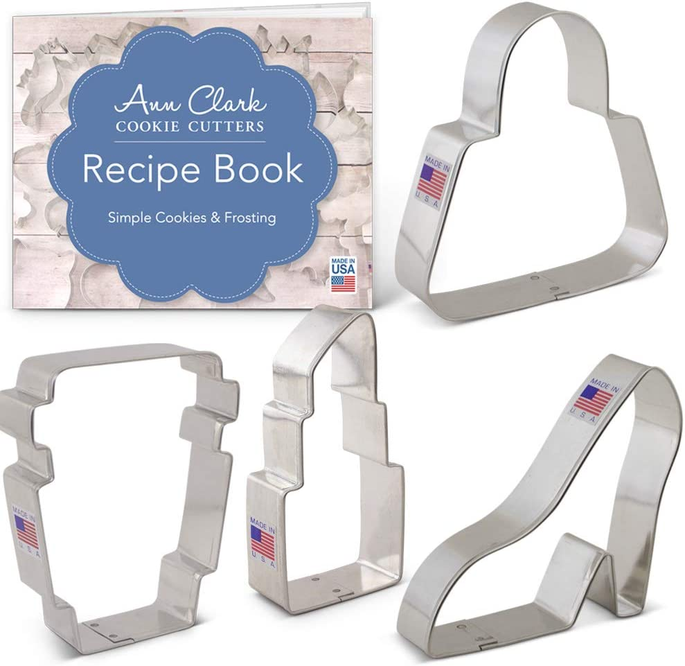 Ann Clark Cookie Cutters Juego de 4 cortadores de galletas listo para llevar con libro de recetas, bolso, taza de café latte, zapato de plataforma y pintalabios