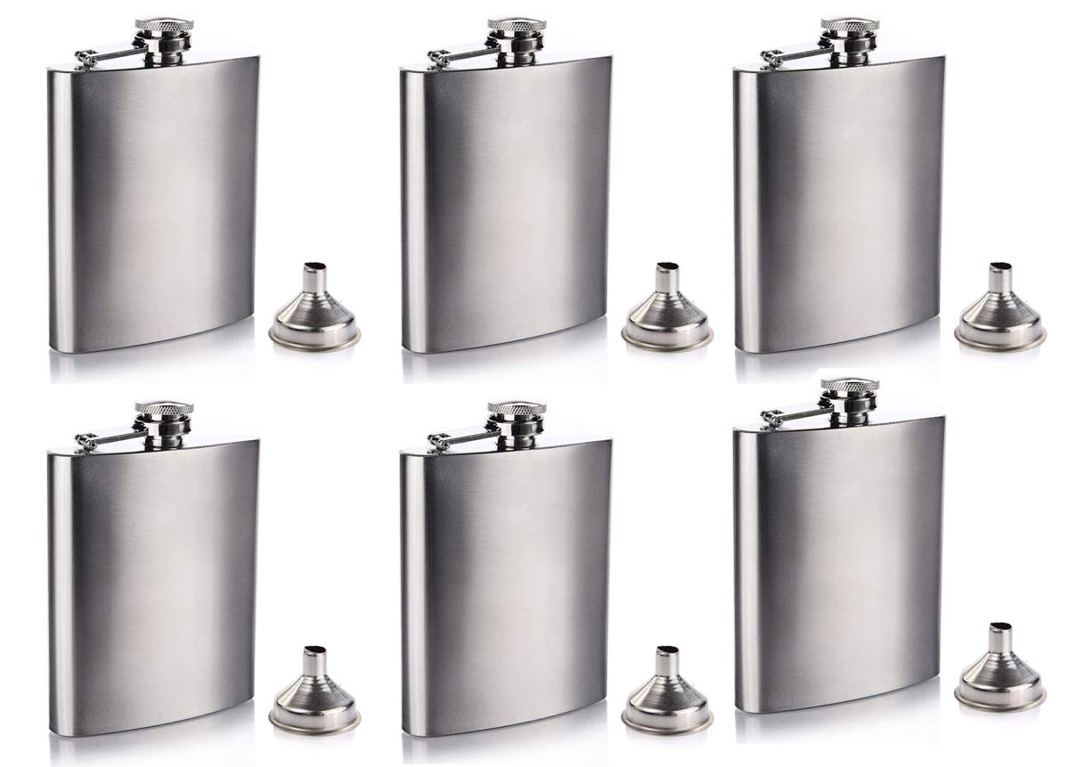 Gifts-Infinity 8 oz Hip Stainless Flask Set of 6 by GIFTS INFINITY