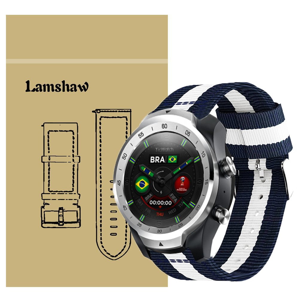 for TicWatch Pro Band, Lamshaw Fine Woven Nylon Adjustable Replacement Band Sport Strap for TicWatch Pro/TicWatch S2 / TicWatch E2 Smartwatch Band ...