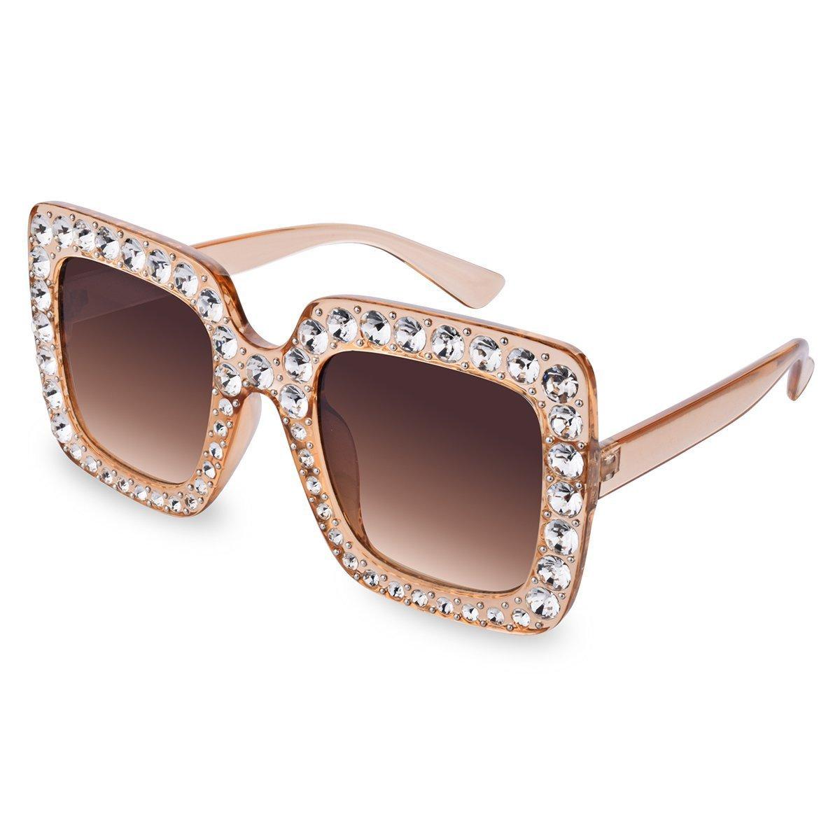 iGOOD Oversized Square Crystal Sunglasses Brand Designer Shades For Women