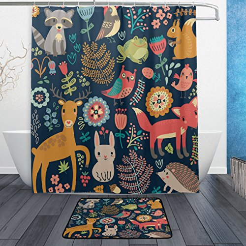 WOZO Forest Cute Fox Frog Owl Polyester Fabric Bathroom Shower Curtain 60 x 72 inch with Hooks Modern Bathroom Doormat Rug 23.6 x 15.7 (Fox Shower Curtain Hooks)