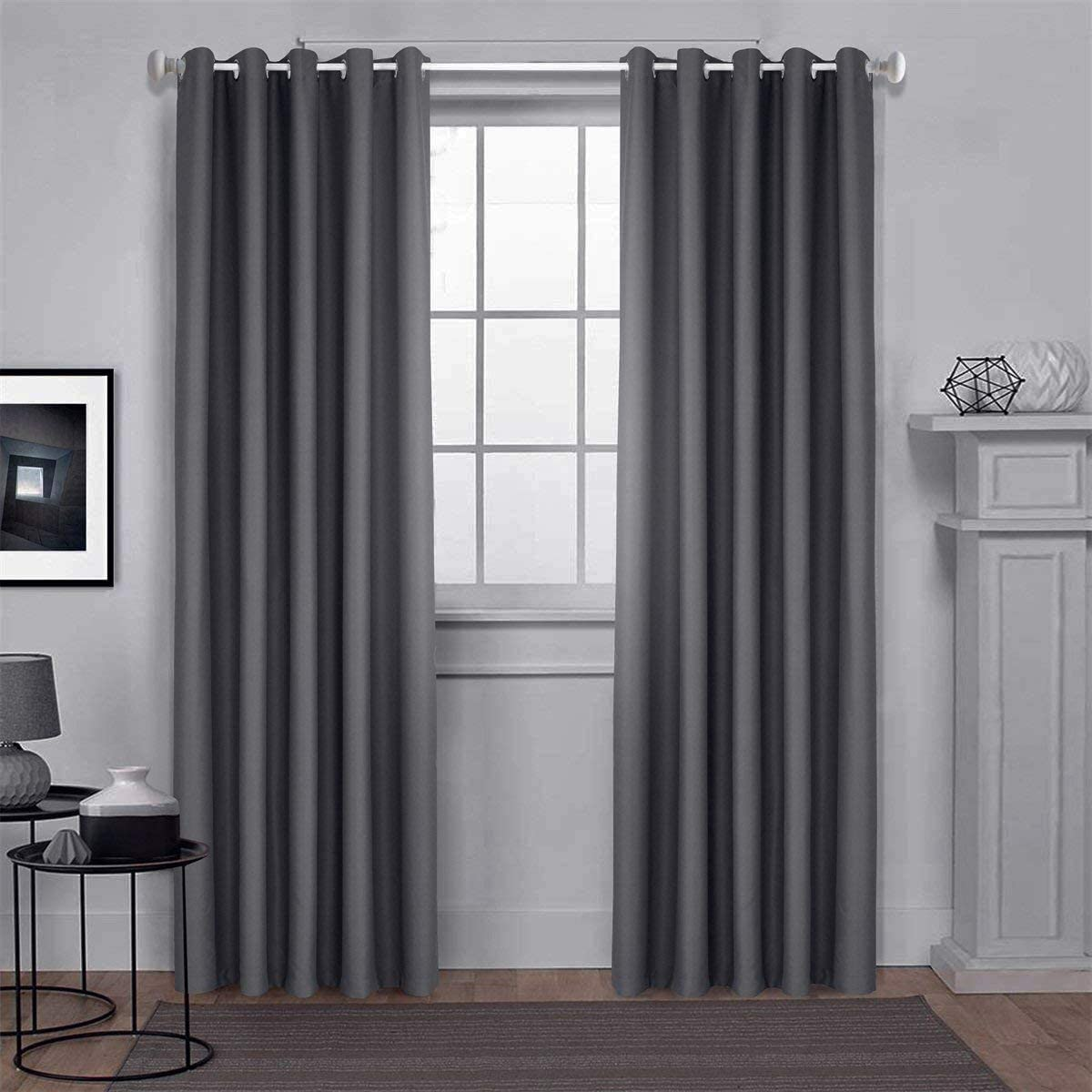 """Dreaming Casa Blackout Curtains Eyelets Grey Thermal Insulated Bedroom Curtains Ring Top Solid Curtains for Kidsroom Window Treatments Blackout 46 x 72 Drop Inch 2 Panels 46"""" wide x 72"""" drop (117cm x 183cm) Solid-eyelet-grey-(2 Panels)"""