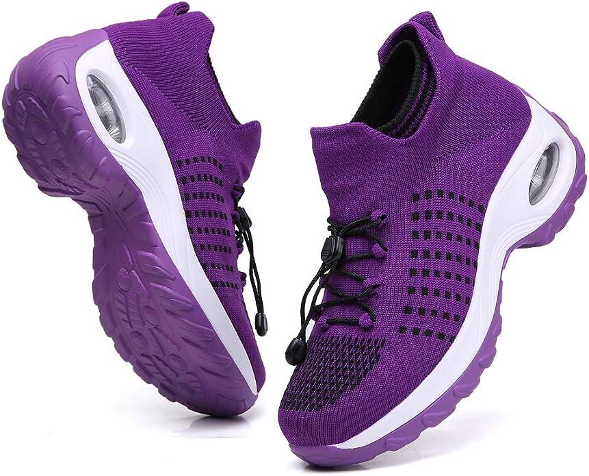 TSIODFO - Zapatillas deportivas con plataforma y cuña para mujer ...