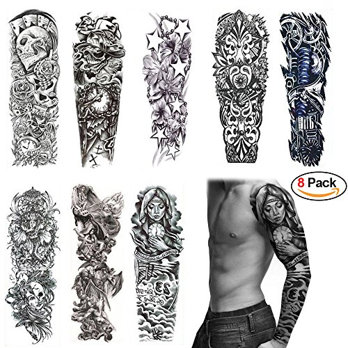 Adecco LLC 8 Sheets Full Arm Temporary Tattoos, Extra Large Fake Tattoos For Men and Women, Waterproof Body Art Stickers