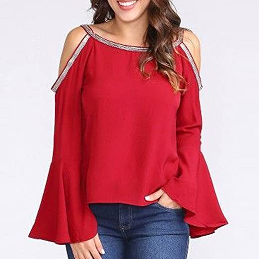 ZHANGVIP Women Casual Red Blouse Glitter Cold Shoulder Flare Long Sleeve Fall T-Shirt Top(S-2XL) at Amazon Womens Clothing store: