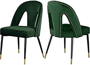 Meridian Furniture Akoya Collection Modern   Contemporary Velvet Upholstered Dining Chair Nailheads and Gold Tipped Black Metal Legs, Set of 2, 21.5