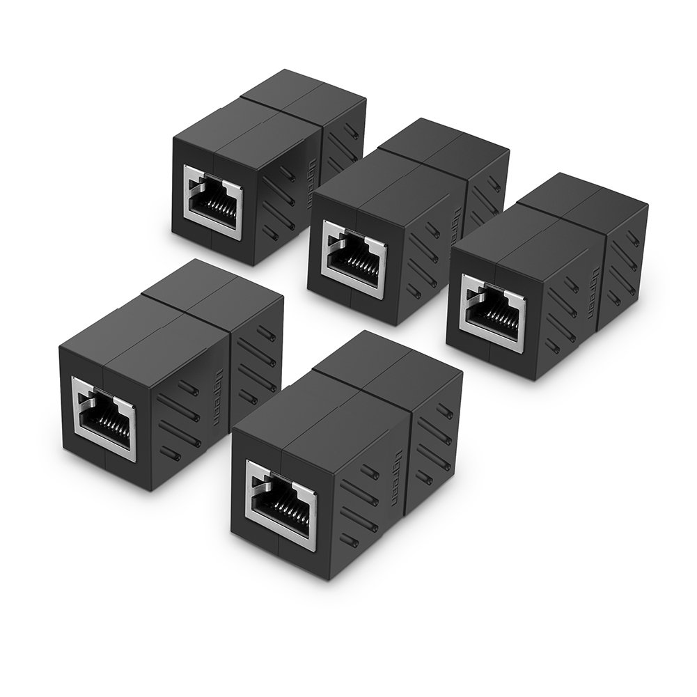 UGREEN RJ45 Coupler 5 Pack In Line Coupler Cat7 Cat6 Cat5e Ethernet Cable Extender Adapter Female to Female (Black)