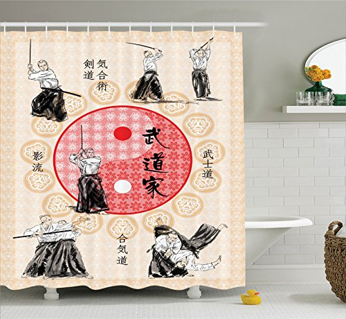 Ambesonne Home Decor Collection, Japanese Culture Decor Ying Yang Mandala Print Samurai Figures Far Eastern Sports Theme, Polyester Fabric Bathroom Shower Curtain Set with Hooks, Ecru Red