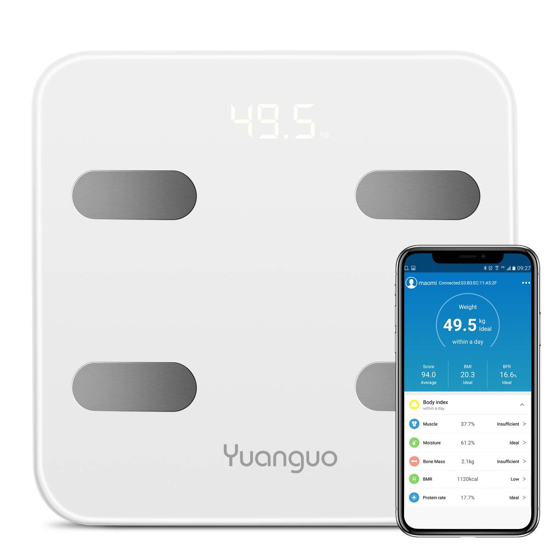 Bascula Baño Yuanguo Bascula Grasa Corporal Bascula Digital Peso para IOS y Android, 180 kg / 396 lb, hasta 17 Análisis de Composición Corporal incluso Peso ...