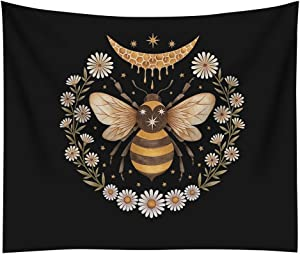 Bee Tapestry Black Tapestries Bee Daisy Flower Pattern Design Wall Hanging Bohemian Hippie Psychedelic Decor Tapestry for Home Dorm Bedroom Living Room Decor (59*79inch)