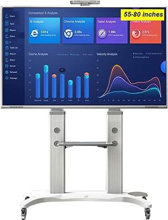 Jsmhh Base de TV móvil con Ruedas, laminación de Aluminio for TV de LCD de 55
