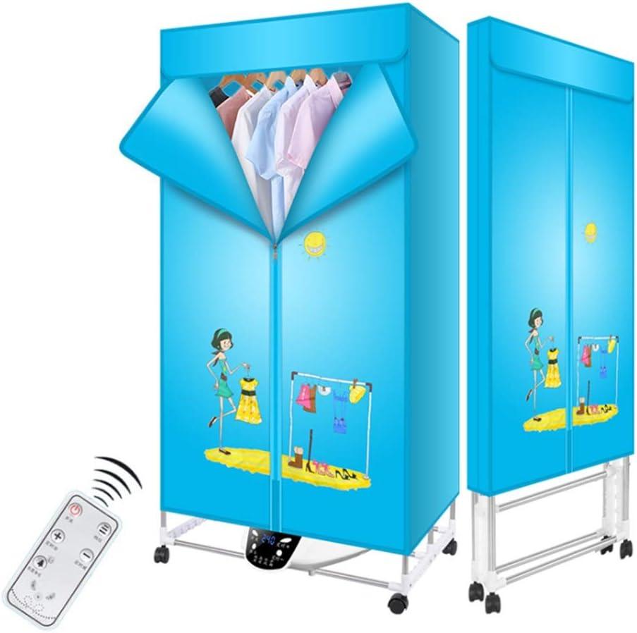 FORWIN UK- Secador de Ropa Plegable Temporizador automático Digital de Modo eficiente de Secado rápido de 1600 vatios con Control Remoto (Color : Azul)