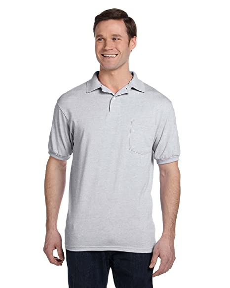 8137ddbabf2 Hanes Men s Comfortblend Ecosmart Jersey Pocket Polo at Amazon Men s ...
