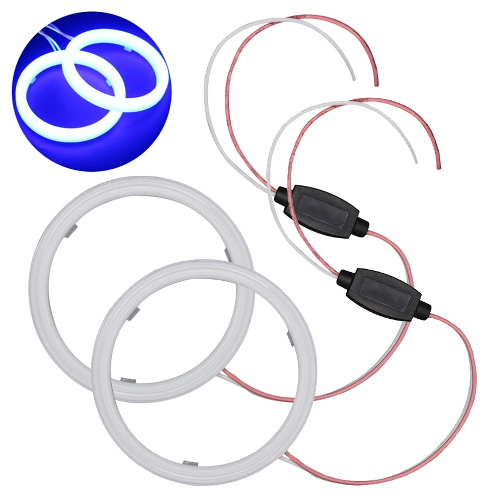 TABEN 1-set bianco 60 mm 36SMD 3020 chip LED Angel Eyes Halo anello faro & Fog alloggiamento lampada con milk-shell
