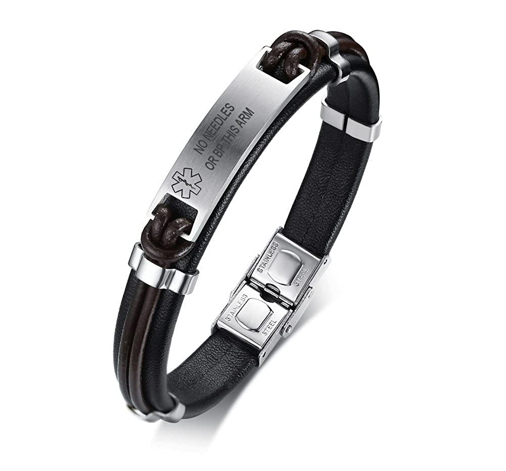 VNOX Medical Alert ID Handmade Braided Genuine Leather Stainless Steel ID Tag Adjustable Bracelets Wristband VNOX Jewelry BL-344BS-Med-1+KZ