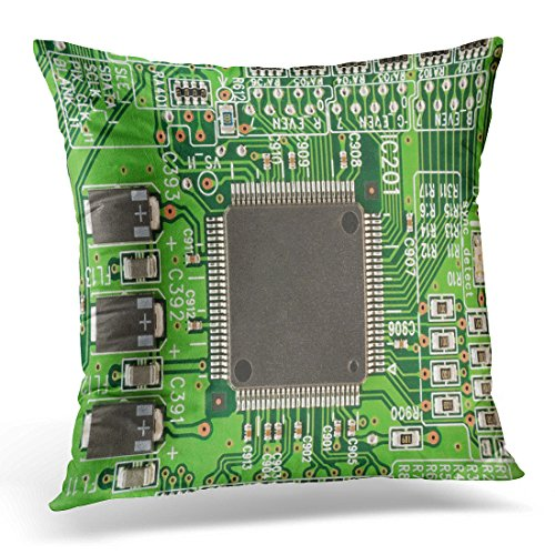 Review UPOOS Throw Pillow Cover Green Computer the Modern Printed Circuit Board with Electronic Components Macro Capacitor Chips Decorative Pillow Case Home Decor Square 18×18 Inches Pillowcase
